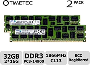 Timetec Original M393B2G70EB0-CMA 32GB KIT (2x16GB) DDR3 1866MHz PC3-14900 Registered ECC 1.5V CL13 2Rx4 Dual Rank 240 Pin RDIMM Server Memory RAM Module Upgrade (32GB KIT (2x16GB))