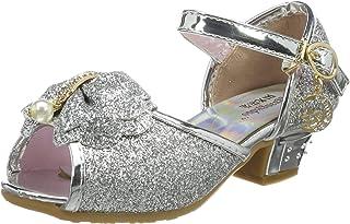 Tyidalin Niña Bailarina Zapatos de Tacón Disfraz de Princesa Zapatilla de Ballet para 3 a 12 Años EU24-35(Color:Rosa,Plata...