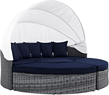 Modern Contemporary Urban Outdoor Patio Balcony Canopy Umbrella Daybed Sofa, Navy Blue, Rattan