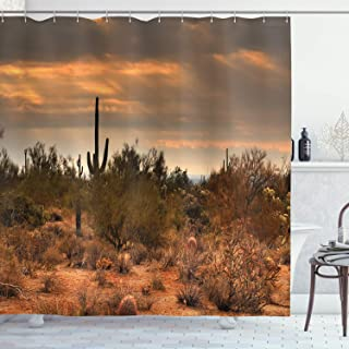 (180cm W By 190cm L, Multi 1) - Saguaro Cactus Decor Shower Curtain Set by Ambesonne, Dramatic Shady Desert View with a St...