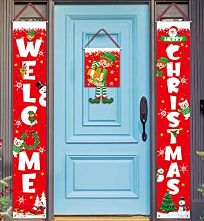 Geefuun 3 Pieces Christmas Decorations Banner - Welcome Christmas Porch Sign Elf Decor Xmas Hanging Front Door Indoor Outd...