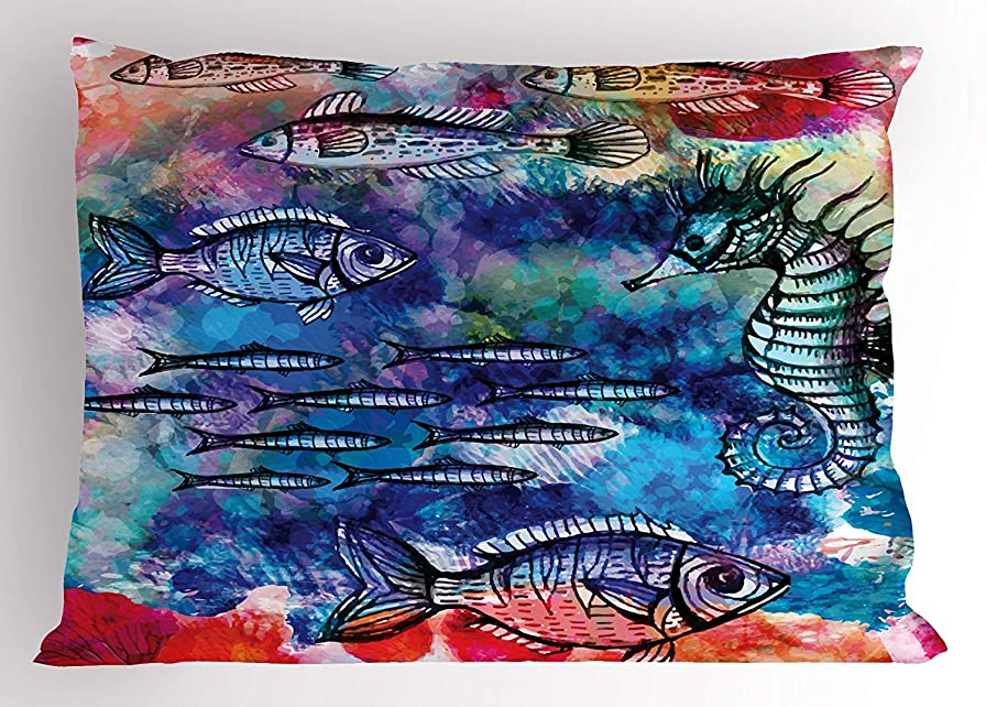 揃える金銭的な立方体Underwater Pillow Sham by, Sea Creatures Watercolor Painting Effect Fish Seahorse Coastal Decor, Decorative Standard Queen Size Printed Pillowcase, 30 X 20 Inches, Navy Blue Magenta Pink