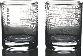 Greenline Goods Whiskey Glasses – Etched Ohio State Campus Map (Set of 2)  10 Oz Tumbler Gift Set - Game Day Old Fashioned Rocks Glasses
