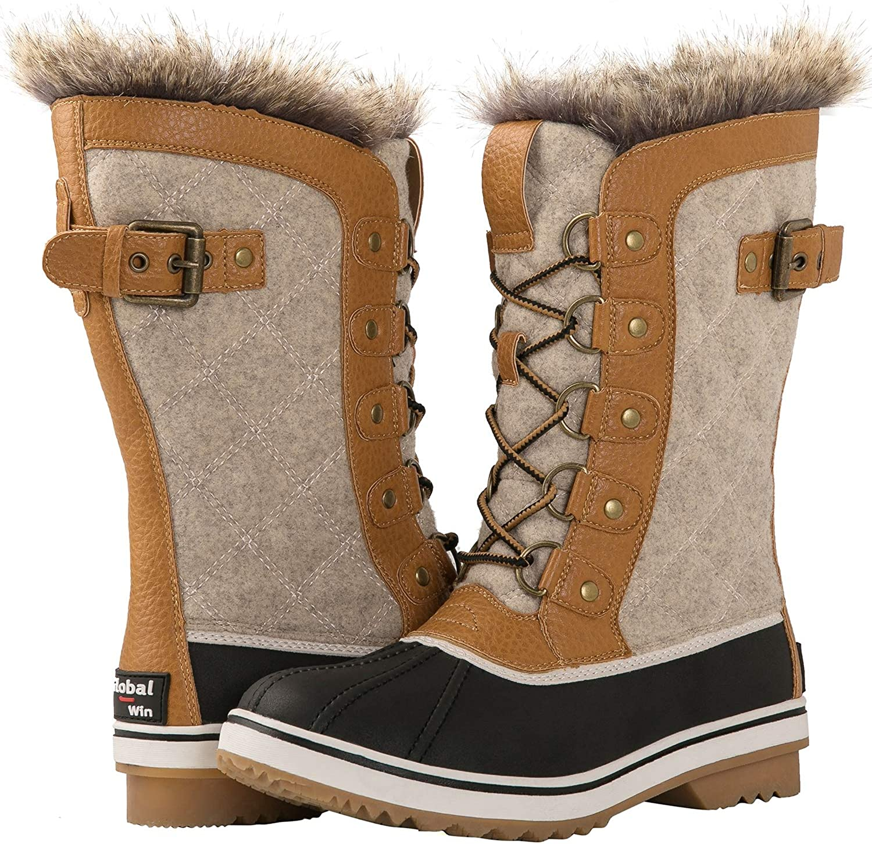 GLOBALWIN Women's Asymmetrical Mid-Calf Fashion Snow Boots