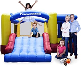 PicassoTiles [Upgrade Version] KC102 12x10 Foot Inflatable Bouncer Jumping Bouncing House, Jump Slide, Dunk Playhouse w/ B...