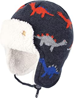 Beany Hat Baby Toddler Winter Hats with Warm Earflap Cute Knitted Beanie Cap Infant Pilot Hat for 2-4 Years Old Babise Girl & Boy for Family, Travel, Birthday, Christmas (Dark Gray - Dinosaur)