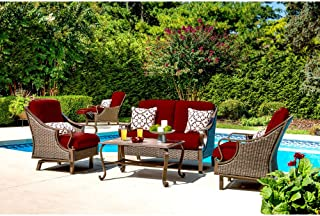 Hanover VENTURA4PC-RED Ventura 4-Piece Patio Set, Crimson Red Outdoor Furniture