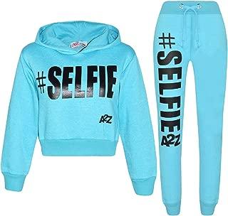 Kids Girls Tracksuit Designer #Selfie Hooded Crop Top & Bottom Jog Suit 5-13 Yr