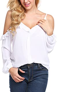 Women's Off Shoulder Top Ruffle Sleeve Spaghetti Strap Blouse Tops Shirts