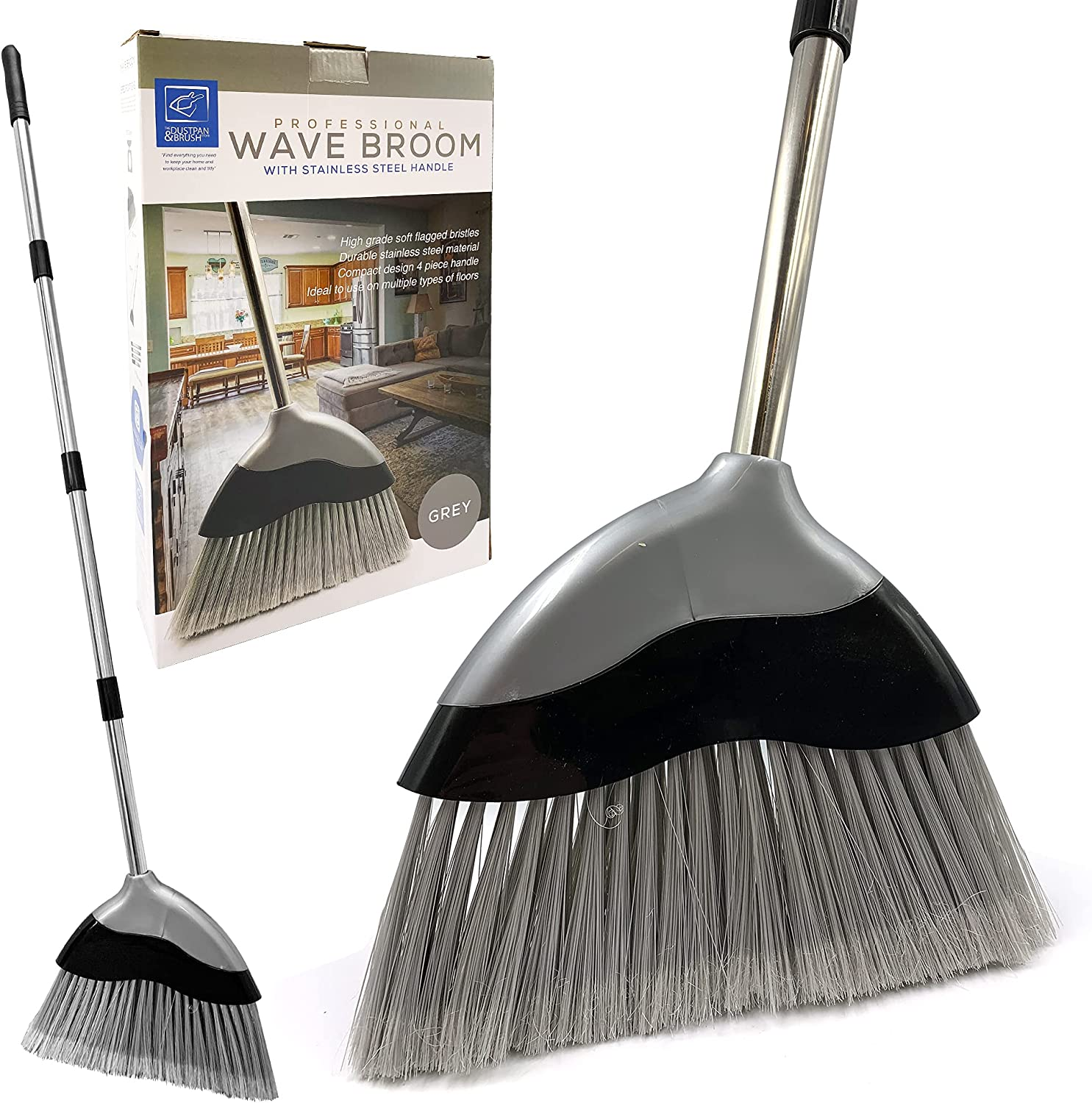 Soft Broom Indoor with 9cm Long Handle – Wave Broom Sweeping Brush with  Angled Soft Bristle Brush and 9 Sections Stainless Steel Handle, Corn Broom  ...