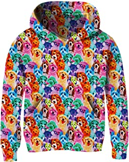 Unisex Kids Hoodies Sweaters 3D Printed Casual Hooded Sweatshirts with Big Pockets for 4-14T Boys Girls