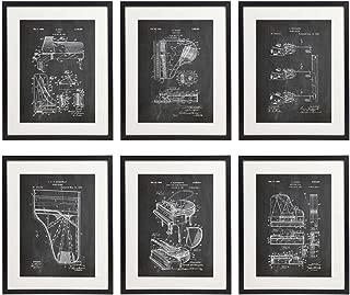 IDIOPIX Piano Patent Wall Decor Chalkboard Art Print Set of 6 Prints UNFRAMED