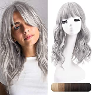 """REECHO 18"""" Synthetic Hair Topper Wiglet Hair Enhancer with Straight Bangs 3 Clips in Wavy Curly Hair Extensions Hair Closu..."""