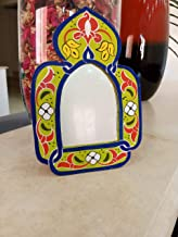 Hand Painted Mirror for Wall 7,5 Inch on 5,3 Inch Hanging Handmade Moroccan Wall Décor African Perfect Piece for Home Office Decor Berber Design Makeup Mirrors