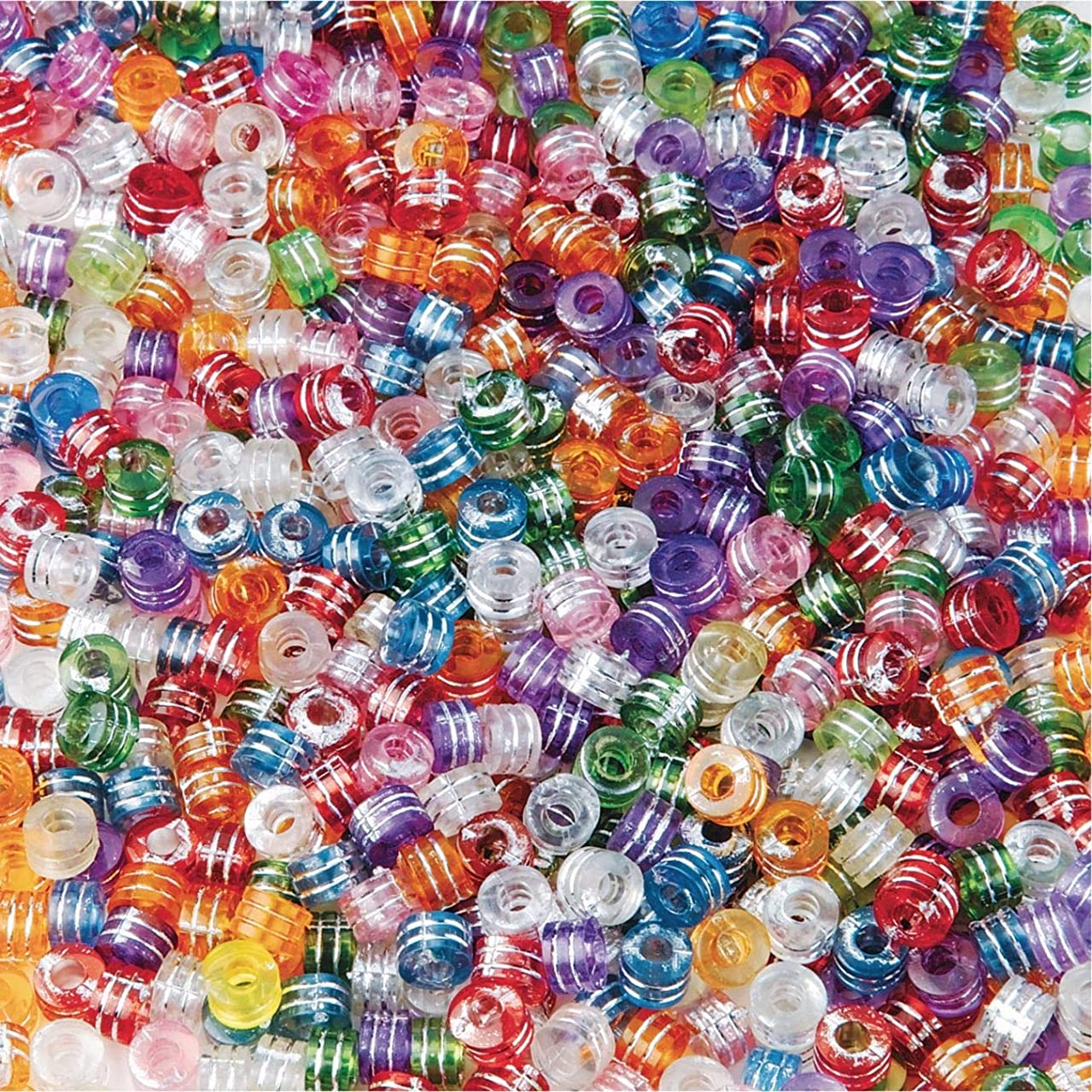Color Splash! Metallic Striped Pony Bead Assortment (Bag of 825)