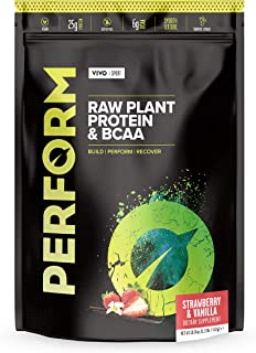 Vivo Life Perform - Vegan Protein Blend with BCAA | Gluten & Soy Free Protein Shake Large Strawberry & Vanilla