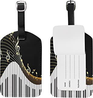 Use4 Black Music Note Piano Luggage Tags Travel ID Bag Tag for Suitcase 1 Piece