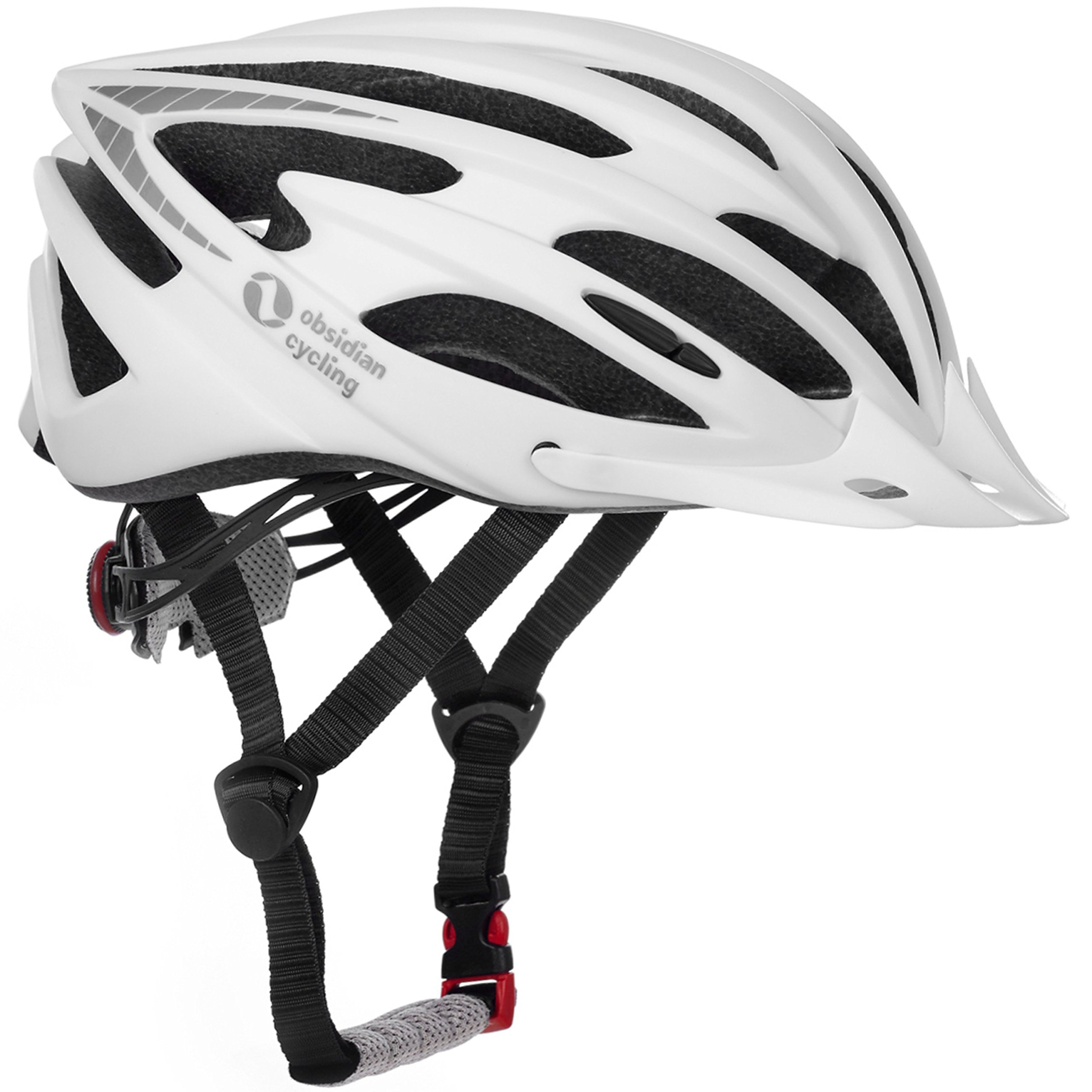 Airflow bicicleta casco con certificado de seguridad – Especialmente para motoristas. & Mountain Biking – de gran calidad, cómodo, ligero y transpirable – adecuado para hombres, mujeres & adolescente, Airflow, blanco mate: