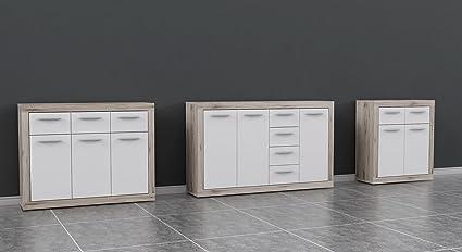 Holz betonoptik // wei/ß FORTE Baccio Kommode 117.90 x 34 x 91.50 cm