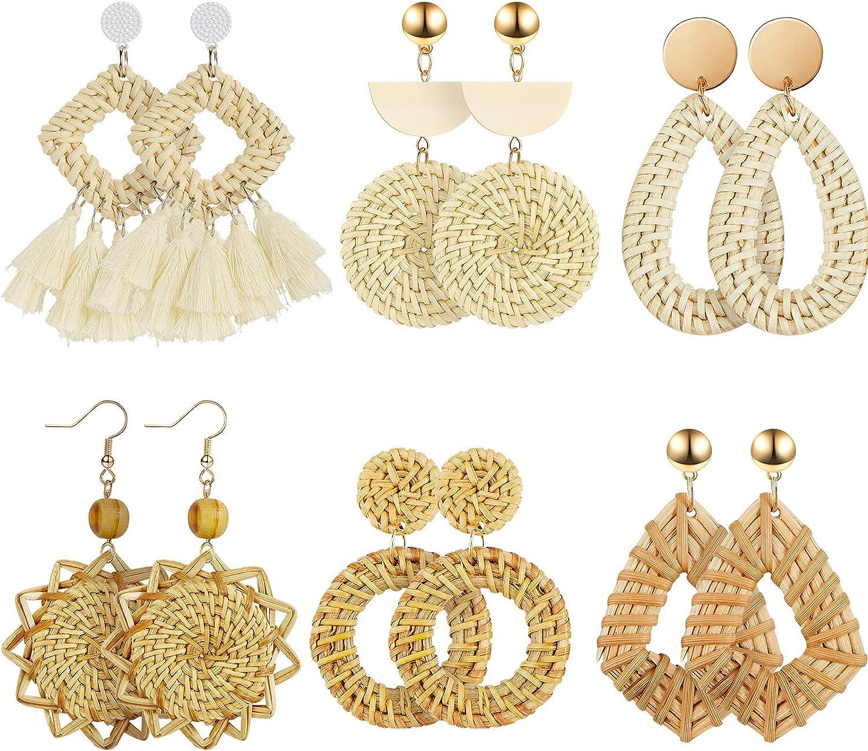 6 Pairs Rattan Earrings Lightweight Geometric Statement Tassel Woven Bohemian Earrings Handmade Straw Wicker Braid Hoop Drop Dangle Earrings for Women Girls