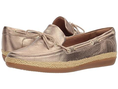 CLARKS Women's Danelly Bodie Boat Shoe, Gold/Metallic Leather, 8.5 Wide US