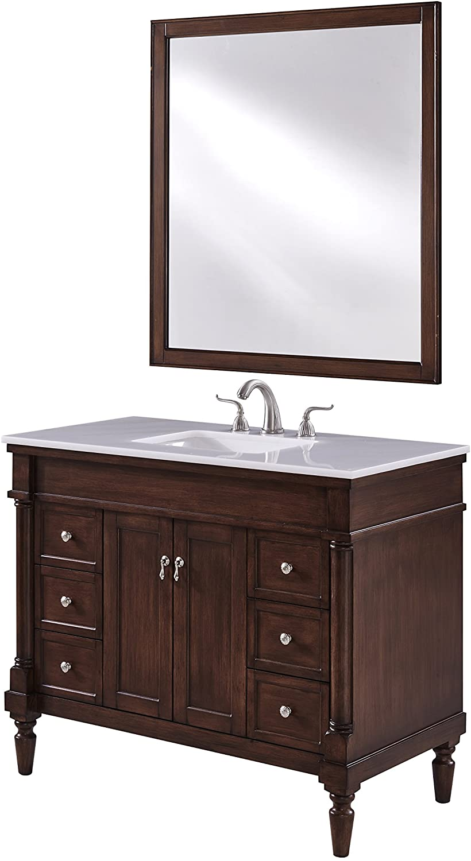 Elegant Department store Decor 42 in. Single Bathroom Challenge the lowest price Walnut Vanity in Set