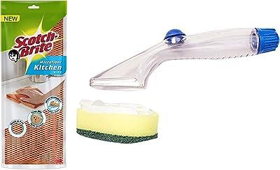 Scotch-Brite Microfiber Kitchen Wipe (Orange) & Scotch Brite Soap Dispensing Dishwand Combo