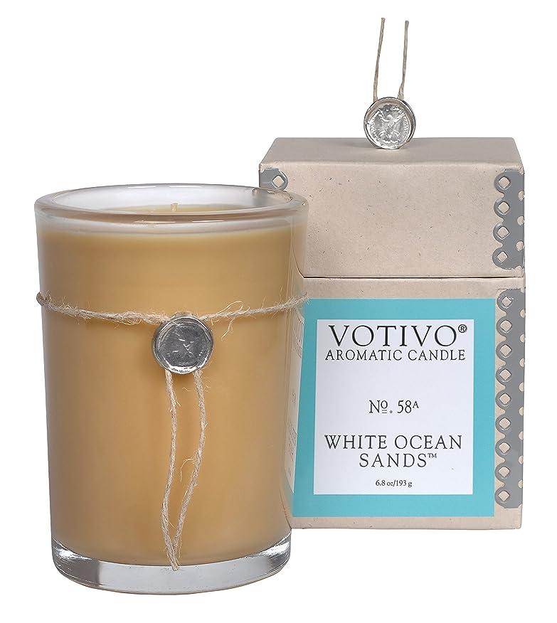 胚芽引用インデックスVOTIVO アロマティック グラスキャンドル ホワイトオーシャンサ