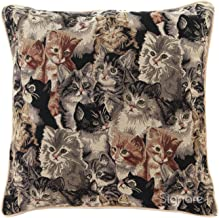 Signare Tapestry Double Sided Square Throw Pillow Cover 18 x 18/ 45cm x 45cm (No Padding) in Cat Design