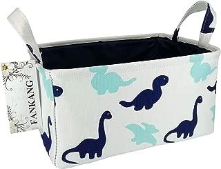 FANKANG Rectangular Fabric Storage Bin Box Laundry Basket with Dinosaur Prints for Nursery Storage, Storage Hamper, Book Bag, Gift Baskets(Dinosaur)