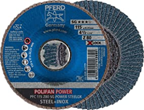 Pferd Polifan 圆盘 115 毫米锆石灯芯,粒面尺寸 80,SG 动力钢,X-Lock 安装(22.23 毫米),10 件 - 为了实现**率,感谢强力加工