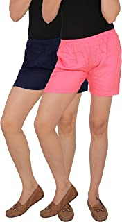 CULTURE THE DIGNITY Women's Mid-Thigh Length Solid Rayon Night Shorts with Side Pockets - Black - Pack of 2 - Free Size
