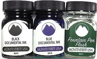 Monteverde Fountain Pen Permanent Ink Bottles, Documental Black, Documental Blue and Pen Flush - Fountain Pen Ink Safe For Legal Documents
