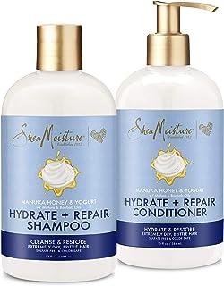SheaMoisture Hydrate & Repair conditioner For Damaged Hair Manuka Honey & Yogurt Shea Butter Shampoo and Conditioner 13oz