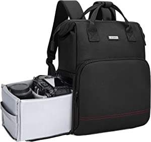 CADeN Camera Backpack Bag for DSLR/SLR Mirrorless Camera Waterproof with 14 inch Laptop Compartment, Tripod Holder, Camera Case Compatible for Sony Canon Nikon Black