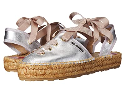 LOVE Moschino Lace-Up Espadrille (Silver) Women