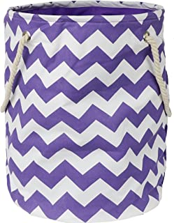 Modern Littles Standing, Folding Laundry Basket, Purple Chevron - Collapsible Bin for Toys - Bedroom Organizer - Foldable Bin with Large Capacity. Adult and Kids Kid's Room Décor
