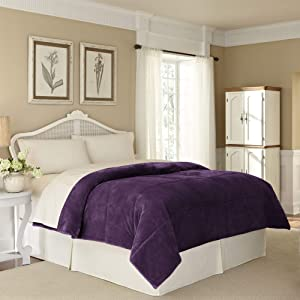 Vellux Plush Luxury Super Soft, Fluffy and Fuzzy Comfortable Lightweight, Warm and Cozy Microfiber Blanket for All Season, Full/Queen, Plum