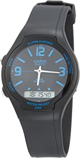 Casio Men's Black Ana-Digi Dial Resin Band Watch - AW-90H-2B