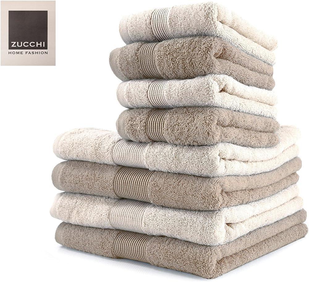 Zucchi,set asciugamano 8 pezzi,100% cotone HOME FASHION