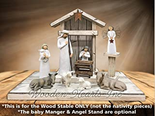 STABLE for NATIVITY *Distressed REAL Wood Stables *Manger Angel Stand Lights (optional) *Creche fits Willow Tree nativity sets (not included) *Green Red White Brown *No Assembly *Made in USA