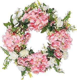 "HEBE 16.5"" Artificial Spring and Summer Wreath Floral Wreath Colorful Artificial Gardenia Wreath Welcome Door Wreath for F..."