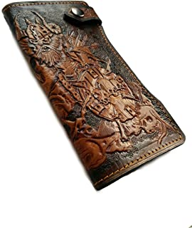 Men's 3D Genuine Leather Wallet, Long wallet, Travel wallet, Biker wallet, Clutch wallet, Hand-Carved, Hand-Painted, Leather Carving, Custom wallet, Personalized wallet, Viking