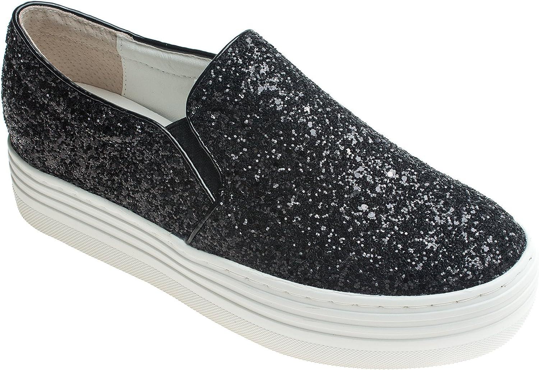 AnnaKastle Womens Glitter Slip Ons Platform Fashion Sneaker