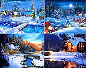 4 Pack Christmas Snow Scene Full Drill Diamond Painting by Number Kit Cross Stitch for Adults 5D DIY Rhinestone Embroidery...