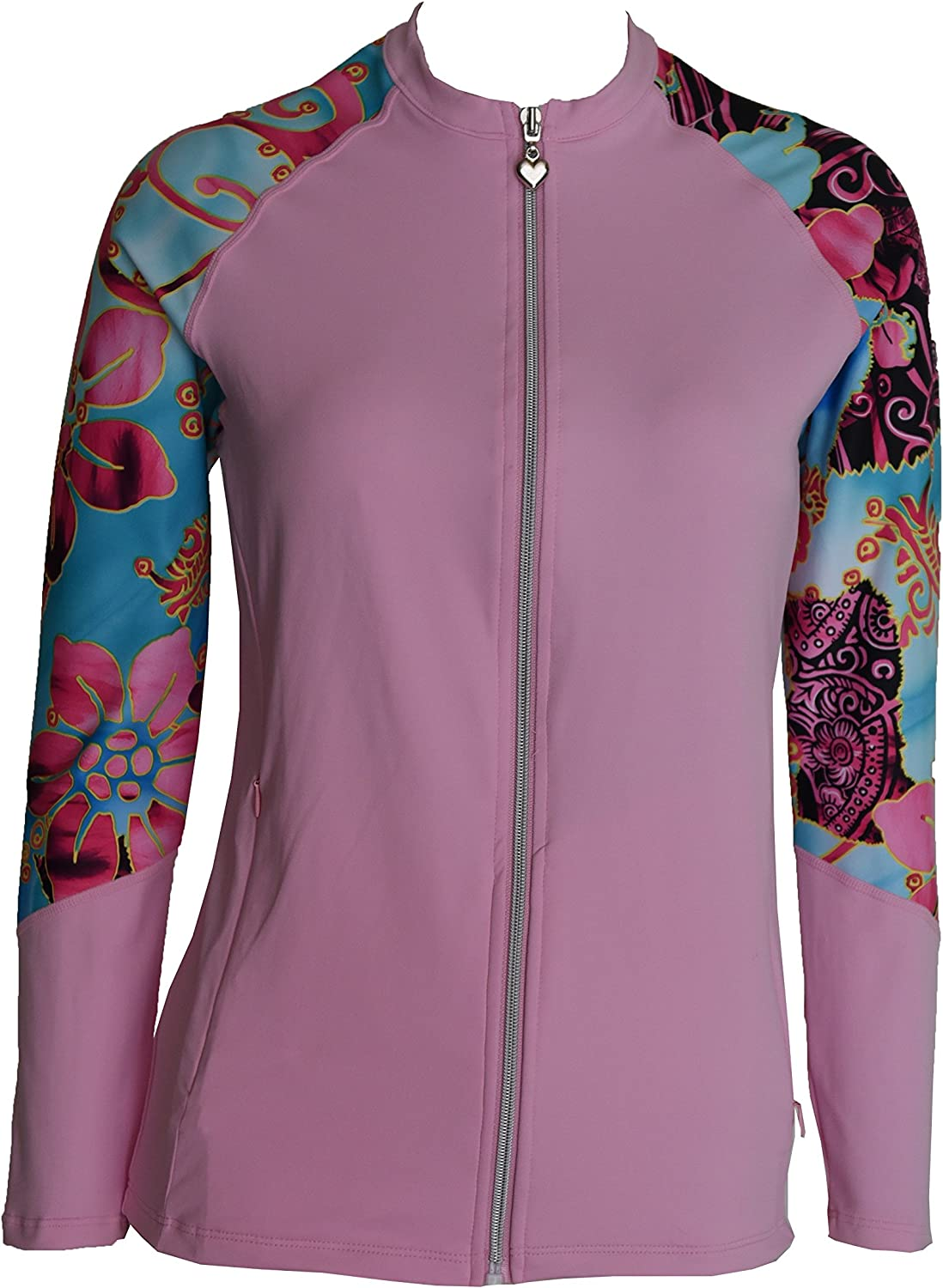 Private Island Hawaii Women UV Wetsuits Long Raglan Sleeve Rash Guard Top Zipper Jacket Pocket Outdoor Yoga (Large, PwSBP)