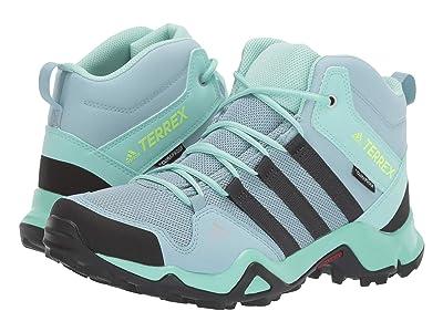 adidas Outdoor Kids Terrex AX2R MID Climaproof(r) (Little Kid/Big Kid) (Ash Grey/Carbon/Clear Mint) Girls Shoes