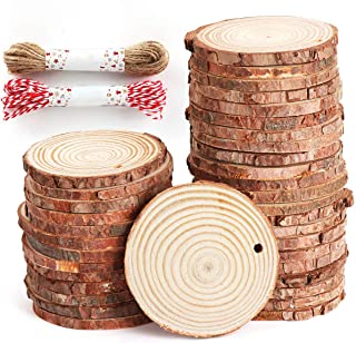 50 Pcs Natural Wood Slices Unfinished Predrilled Log Discs Wooden Circles with Natural Jute Twine for DIY Crafts Christmas...