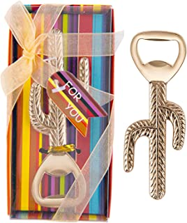16 Pcs Cinco De Mayo Fiesta Party Favors Beer Bottle Opener, Mexican Cactus Wedding Baby Shower Party Keepsake Souvenir Colorful Striped Game Prize with Individual Gift Package, NO DIY Required (Gold)