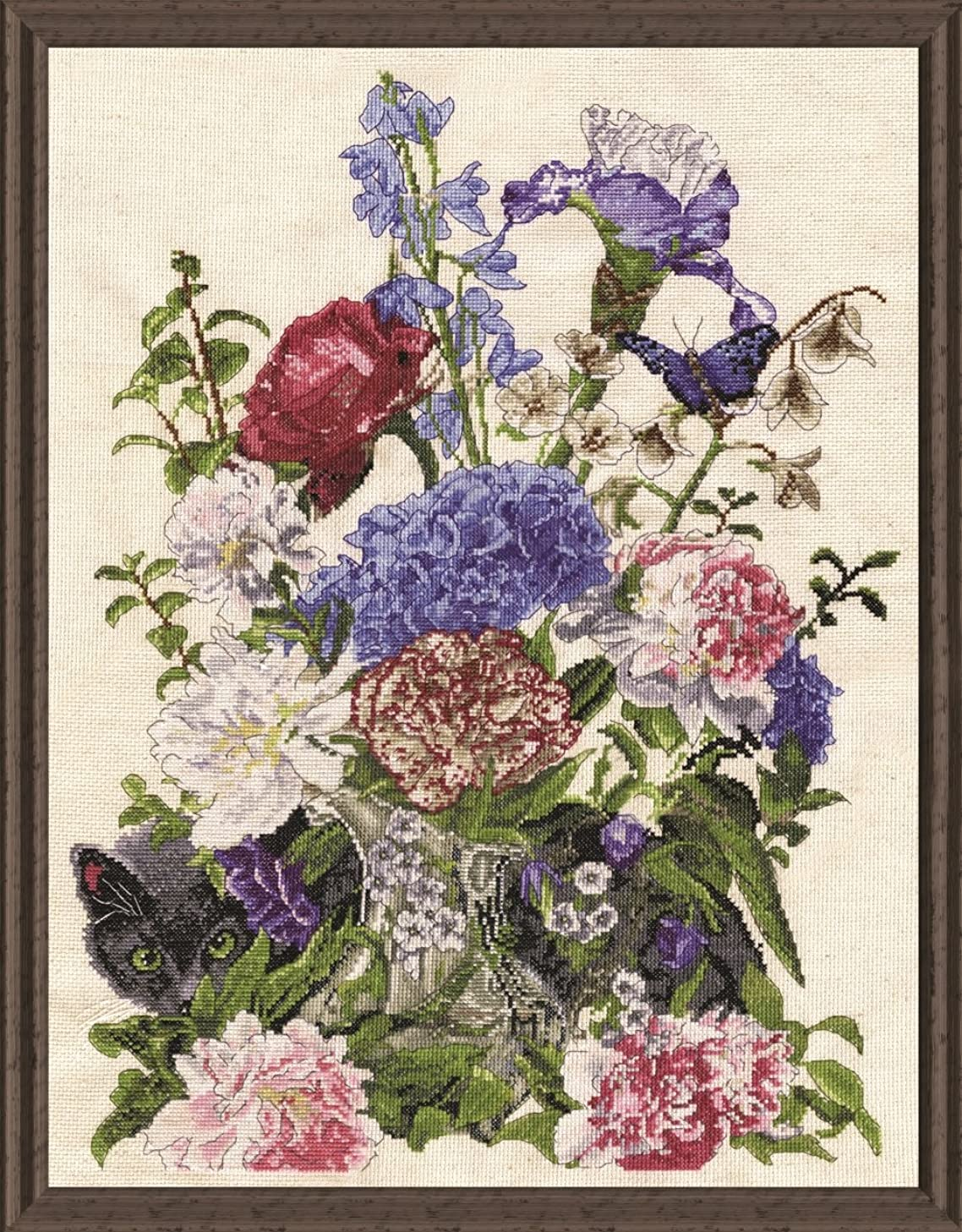 Tobin 2908 14 Count Bouquet with Cat Counted Cross Stitch Kit, 14